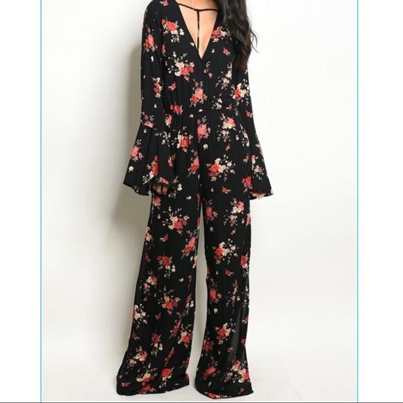 Pants - Floral Bell Sleeve Jumpsuit